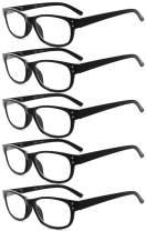 Eyekepper Design Reading Glasses-5 Pack Black Frame Glasses for Women Men Reading,+0.50 Reader Eyeglasses