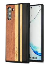 YFWOOD Compatible with Samsung Galaxy Note 10 Wood Case, Natural Wooden Stripe Cover Dust Proof Shockproof Anti-Scratch Soft Rubber Cushion Bumper Protective Case for Galaxy Note 10