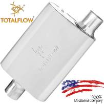 """TOTALFLOW Polished 3"""" 3"""" 515042 409 Stainless Steel Two-Chamber Universal Muffler 3"""" Center in / 3"""" Offset Out"""