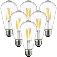 Dimmable Vintage Edison Light Bulb, ANWIO ST21(ST64) LED Filament Bulb 11W(75 Watt Equivalent) 2700K Warm White E26 Medium Base for Home Decor (6-Pack)