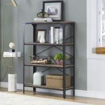 O&K FURNITURE 4-Shelf Industrial Open Bookcase, Wood and Metal Vintage Etagere Bookshelf for Living Room, Gray-Brown