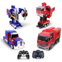 Family Smiles Kids RC Toy Car Transforming Robot Fire Car Blue Truck Set Transformation 360 Spinning Speed Drifting 2 Band 2.4 GHz Remote Control Vehicle Toys for Boys