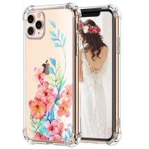 Hepix Clear iPhone 11 Pro Max Case Floral 11 Pro Max Cases, Red Flowers Blue Leaves Watercolor Phone Case Slim Flexible TPU with Four Bumpers Camera Screen Protection Anti-Scratch iPhone 11 Pro Max