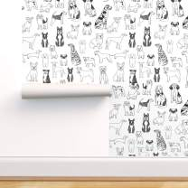 Spoonflower Pre-Pasted Removable Wallpaper, Dog Dogs Dog Pets Black and White Dog Breeds Print, Water-Activated Wallpaper, 24in x 108in Roll