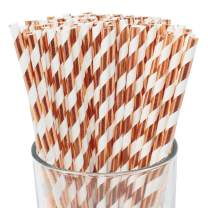 Just Artifacts 100pcs Premium Biodegradable Striped Paper Straws (Striped, Metallic Rose Gold)
