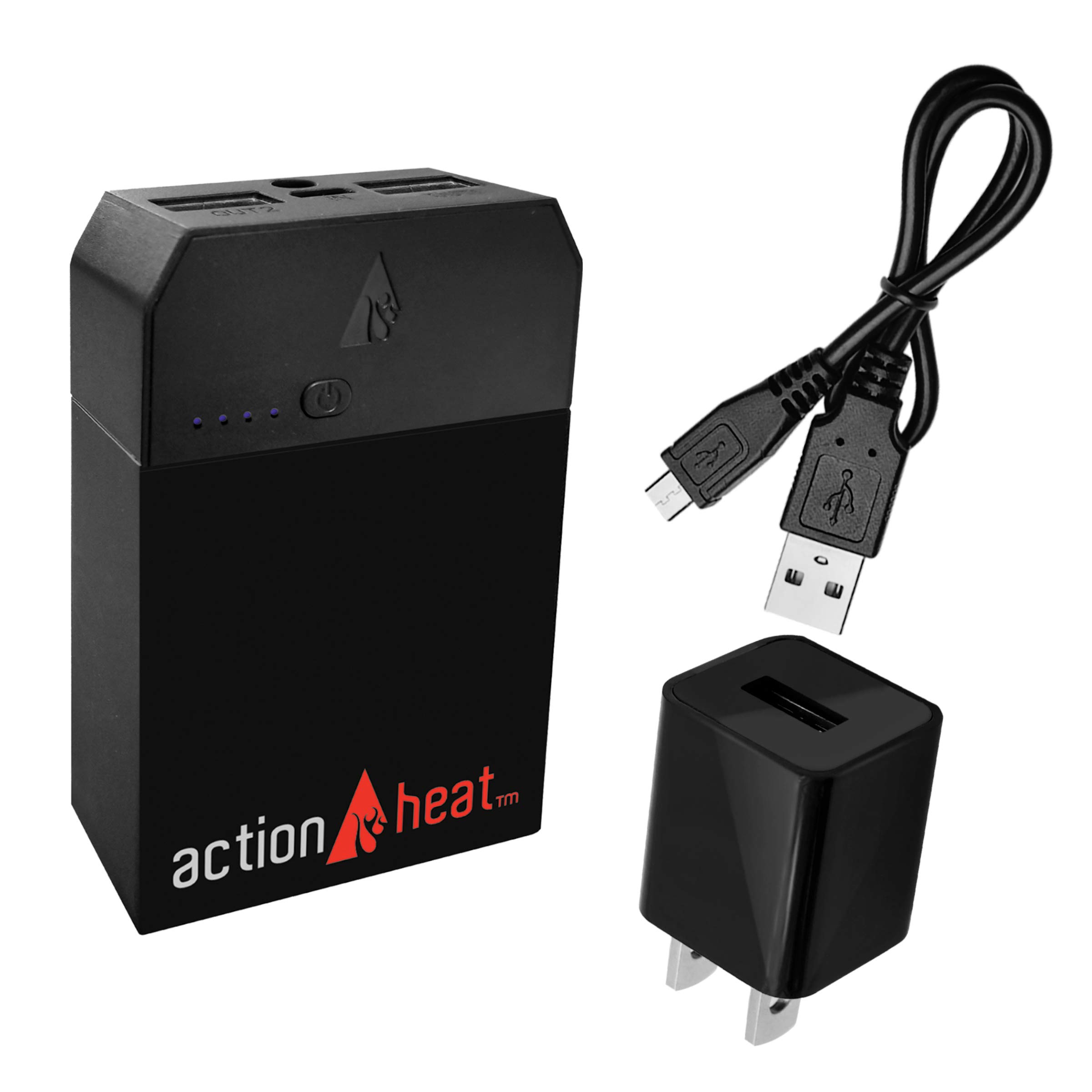 ActionHeat Portable 5V Power Bank 6000mAh Kit – Lithium-Polymer Rechargeable Battery Pack for Heated Clothing and Charging Tablets, Smartphones – Black