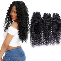 Maxine 9A Grade Brazilian Virgin Hair Deep Curly Wave 3 Bundles 100% Unprocessed Human Hair Natural Black Color Can Be Dyed and Bleached 300g(10 10 10)