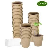 3'' Peat Pots, ZOUTOG 100 Pack Round Biodegradable Plant Starter Pots Seedling Trays, Bonus 100 Plant Labels