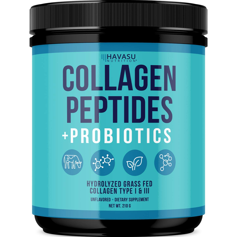 Havasu Nutrition Collagen Peptides Powder + Probiotics for Women and Men; Unflavored Grass-Fed Protein, 210 Grams