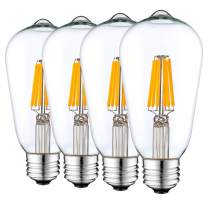Keymit Latest Generation ST58 LED Bulb 3-Way Dimmable Without Dimmer,3 Brightness Levels (Low 10%, Medium 50%, High 100%)E26 Base 8W 2700K Warm Light Perfect Edison Light Bulb for Bedside Lamp 4Pack