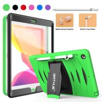 BATYUE Case for iPad 7th Generation, iPad Case 10.2 2019 with Pencil Holder & Pencil Cap Holder, Anti-Scratch Shockproof w/Built-in Screen Protector Full-Body Rugged Kickstand Protective Case (Green)