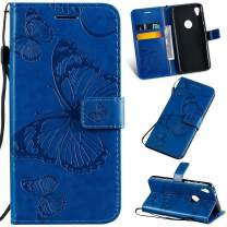 Cmeka Moto E6 Wallet Case   with Credit Card Slots Holder   3D   Butterfly   Magnetic Closure   Kickstand   Wrist Strap   Compatible with Motorola Moto E6 Blue