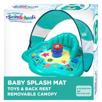 Aqua SwimSchool Splash Play Mat, Inflatable Kiddie Pool with Backrest and Canopy for Babies & Toddlers, Includes Three Toys