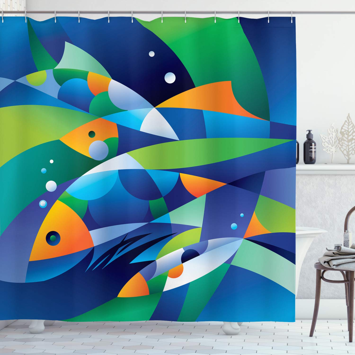 """Ambesonne Ocean Shower Curtain, Abstract Digital Geometric Pieced Fish with Circle Curves Depths of The Ocean Theme, Cloth Fabric Bathroom Decor Set with Hooks, 70"""" Long, Blue Green"""