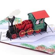 Liif Polar Express Christmas Train 3D Pop Up Christmas Card, Happy Christmas Cards For Kids, Holiday Card, Xmas Card, Gift (Christmas Train)