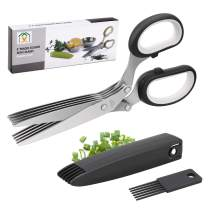 Joyoldelf Gourmet Herb Scissors Set - Master Culinary Multipurpose Cutting Shears with Stainless Steel 5 Blades, Safety Cover and Cleaning Comb for Cutting Cilantro Onion Salad (Black)