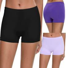 SWOMOG Women's Boyshort Panties 3 Pack Soft Underwear Invisible Briefs Boyshorts