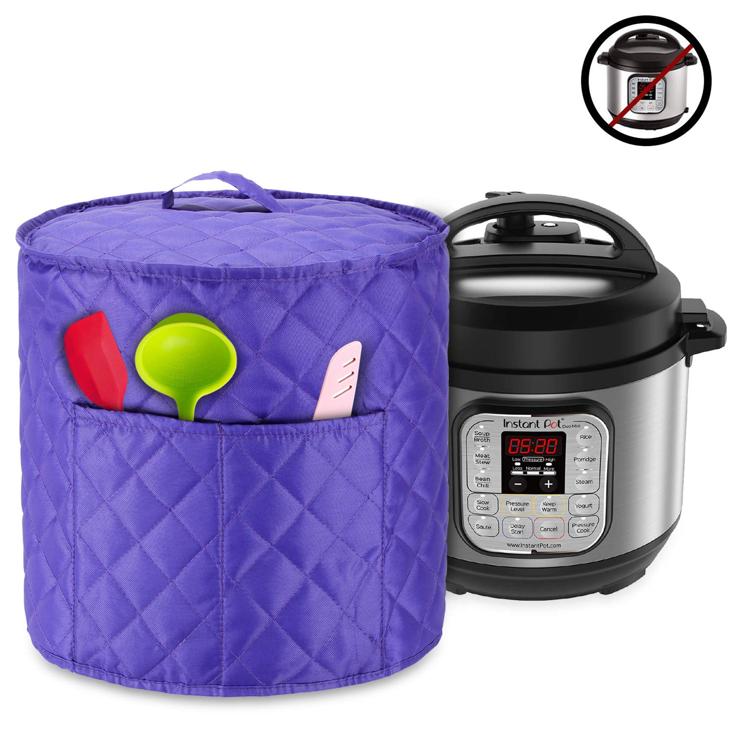Luxja Dust Cover for 3 Quart Instant Pot, Cloth Cover with Pockets for Instant Pot (3 Quart) and Extra Accessories, Purple Quilted Fabric (Small)