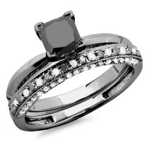Dazzlingrock Collection 1.50 Carat (ctw) Black Rhodium Plated 14K Black & White Diamond Ring Set 1 1/2 CT, White Gold
