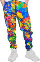 Aofmoka Leopard Ultraviolet Fluorescent Neon Blacklight Handmade Print Sweatpants