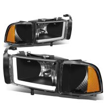Pair LED DRL Black Housing Amber Corner Headlights Lamps Replacement for Dodge Ram (Non-Sport Model) 94-01