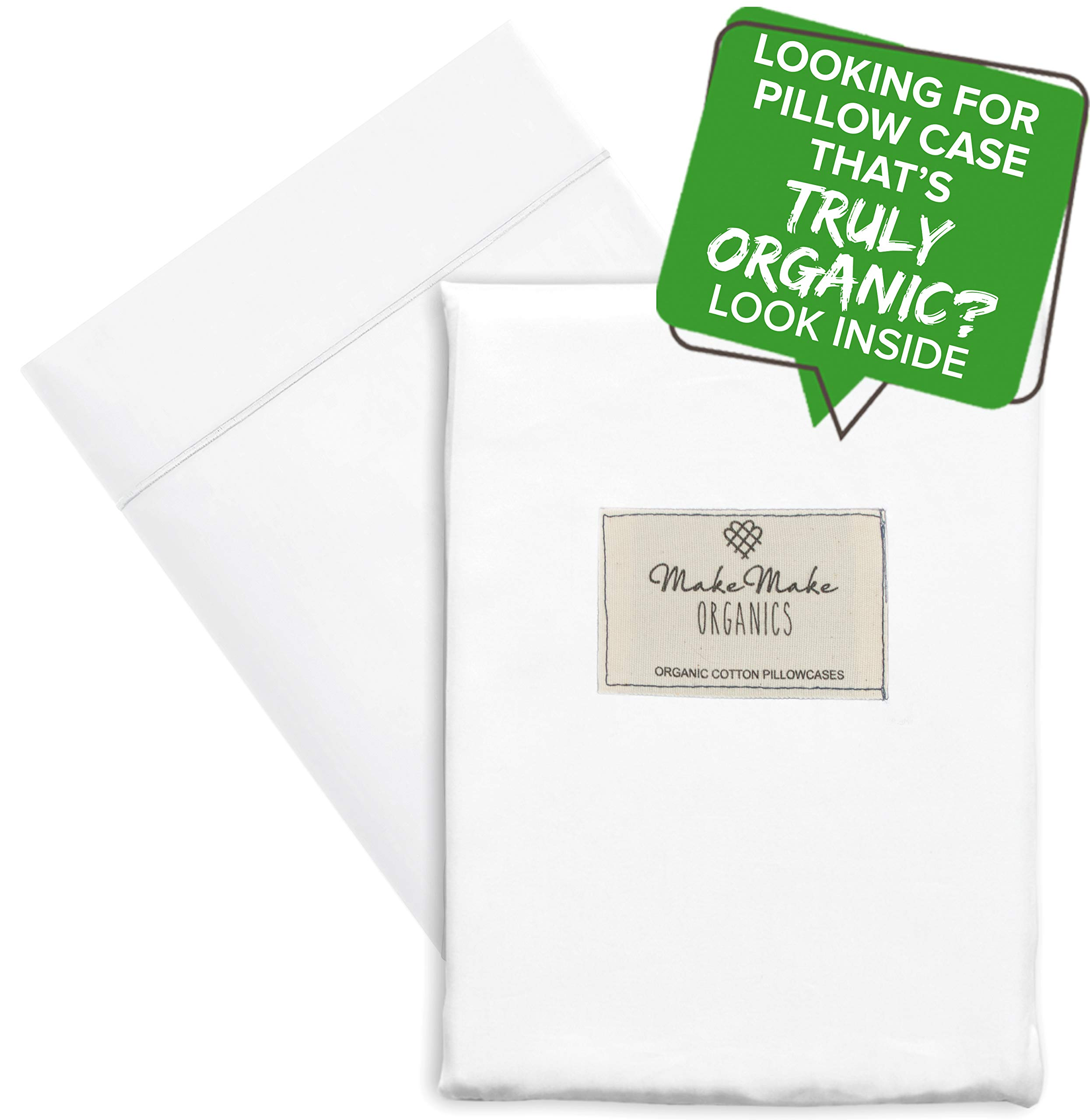 MakeMake Organics Organic Toddler Pillowcase (Set of 2) GOTS Certified Organic Cotton Pillowcase Toddlers Hypoallergenic Breathable Non Toxic Fits 13x18 Travel Toddler Pillows (14x19, Bright White)