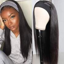 Headband Wigs for Black Women Human Hair Straight None Lace Front Wigs Machine Made Headband Half Wig Brizilian Virgin Human Hair Natural Color (26 inch, Natural Black)
