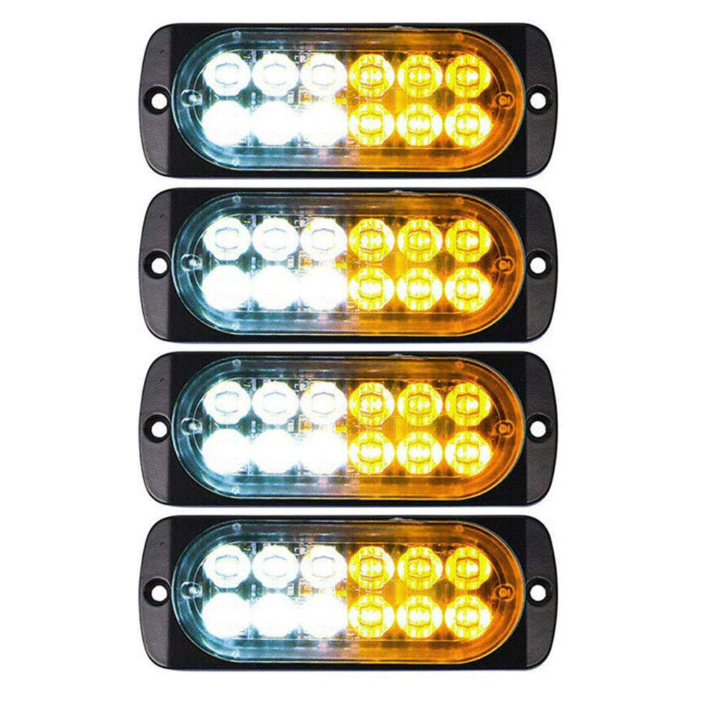 DIBMS LED Emergency Strobe Lights, 4x Amber White 12 LED Strobe Warning Emergency Flashing Light Caution Construction Hazard Light Bar For Car Truck Van Off Road Vehicle ATV SUV Surface Mount