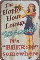 "UNIQUELOVER Bar Signs, The Happy Hours Lounge Sign Retro Vintage Metal Tin Signs for Home Bar Decor 12"" X 8"""
