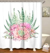 LIVILAN Succulent Plants Shower Curtain, Cactus Potted Bath Curtain with Hooks, Fabric Bathroom Decor 72x72 Inches Machine Washable