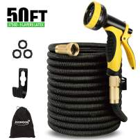 "[High Efficiency 3750D ] Garden Hose Expandable,50ft Lightweight Water Hose,Flexible Triple Extension-9 Layers Latex-3/4"" Solid Brass-10 Function Nozzle-18 months warranty for Garden Watering,Cleaning"