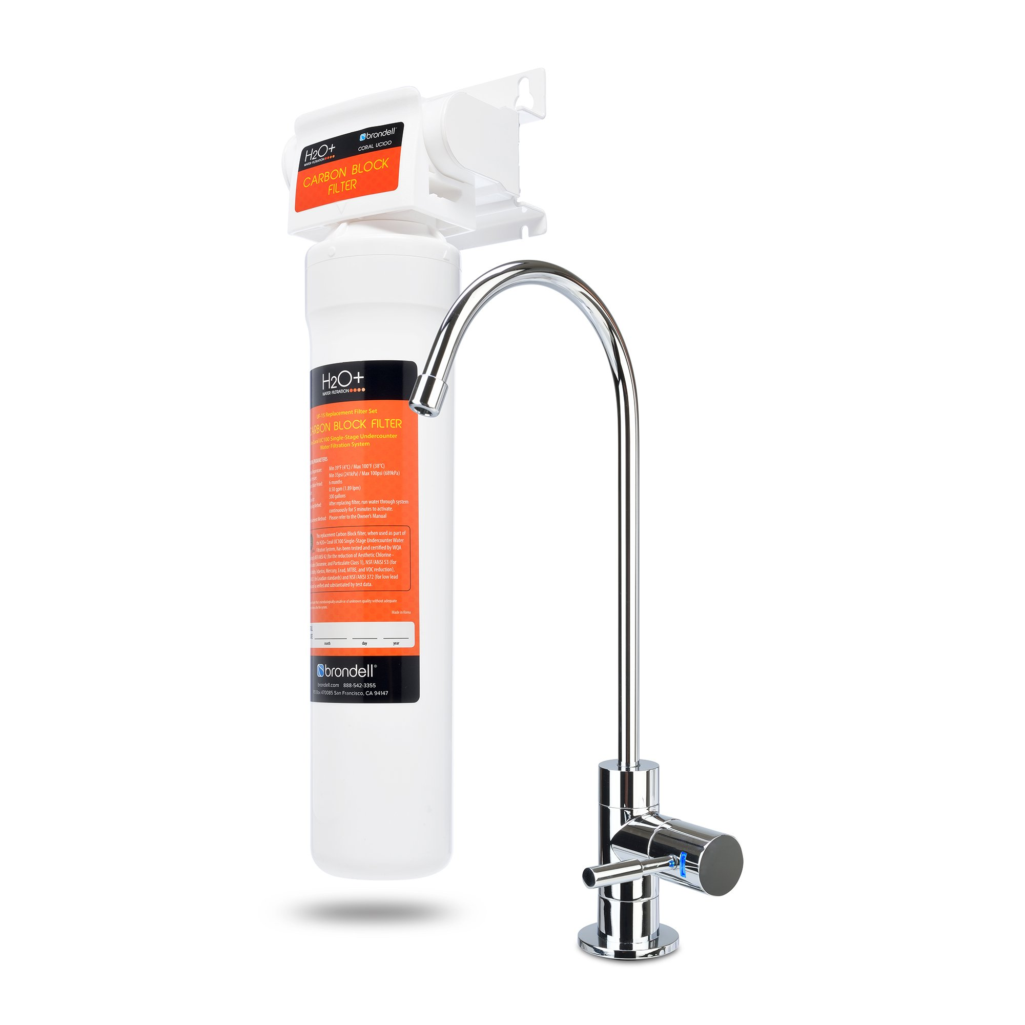 Brondell UC100 H2O+ Coral Single-Stage Under counter Water Filtration System with Over 99% Lead Reduction, 1, Chrome