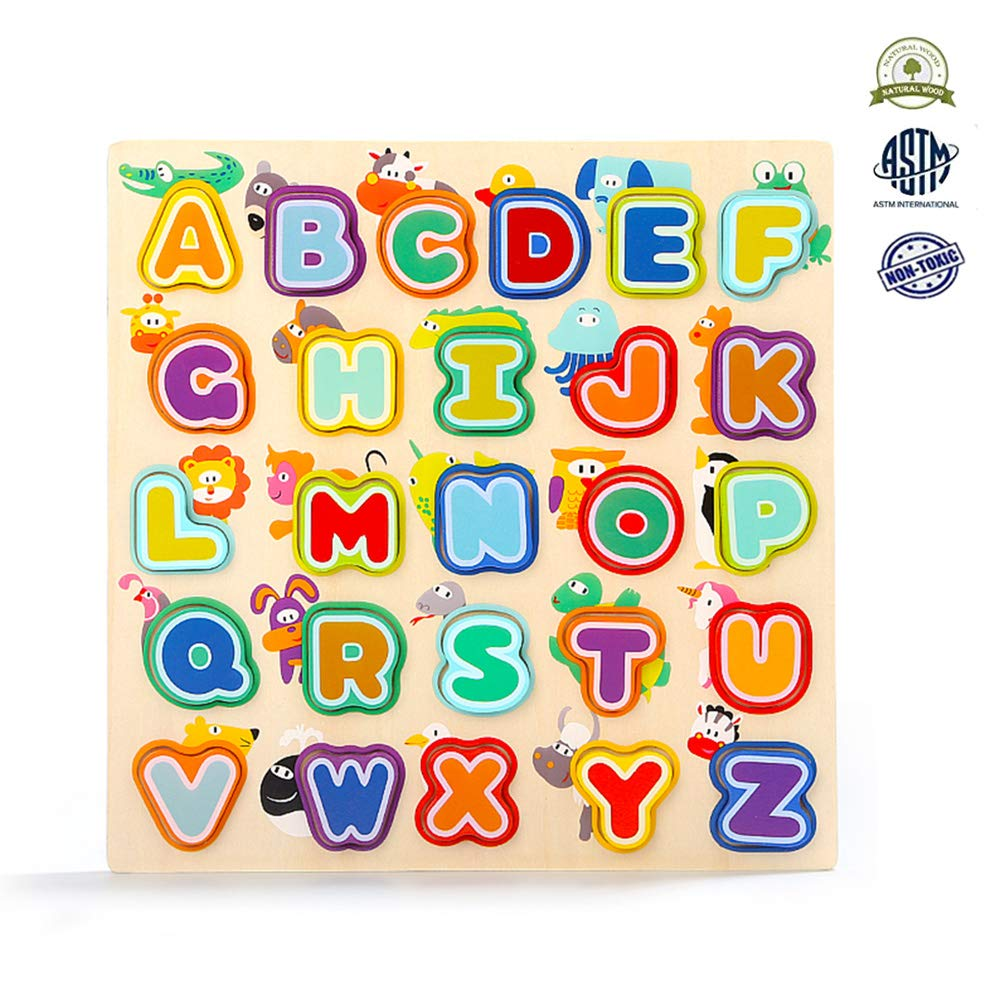 Alphabet Puzzle Set, Wooden ABC Letter Puzzles for Toddlers 1 2 3 Years Old, Educational Learning Toys for Kids Gift for Boys and Girls