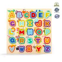 TOP BRIGHT Wooden Alphabet Puzzles, ABC Puzzle Board for Toddlers 3-5 Years Old, Preschool Boys & Girls Educational Learning Letter Toys, Sturdy Wooden Construction