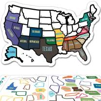 """RV State Sticker Travel Map - 11"""" x 17"""" - USA States Visited Decal - United States Non Magnet Road Trip Window Stickers - Trailer Supplies & Accessories - Exterior or Interior Motorhome Wall Decals"""
