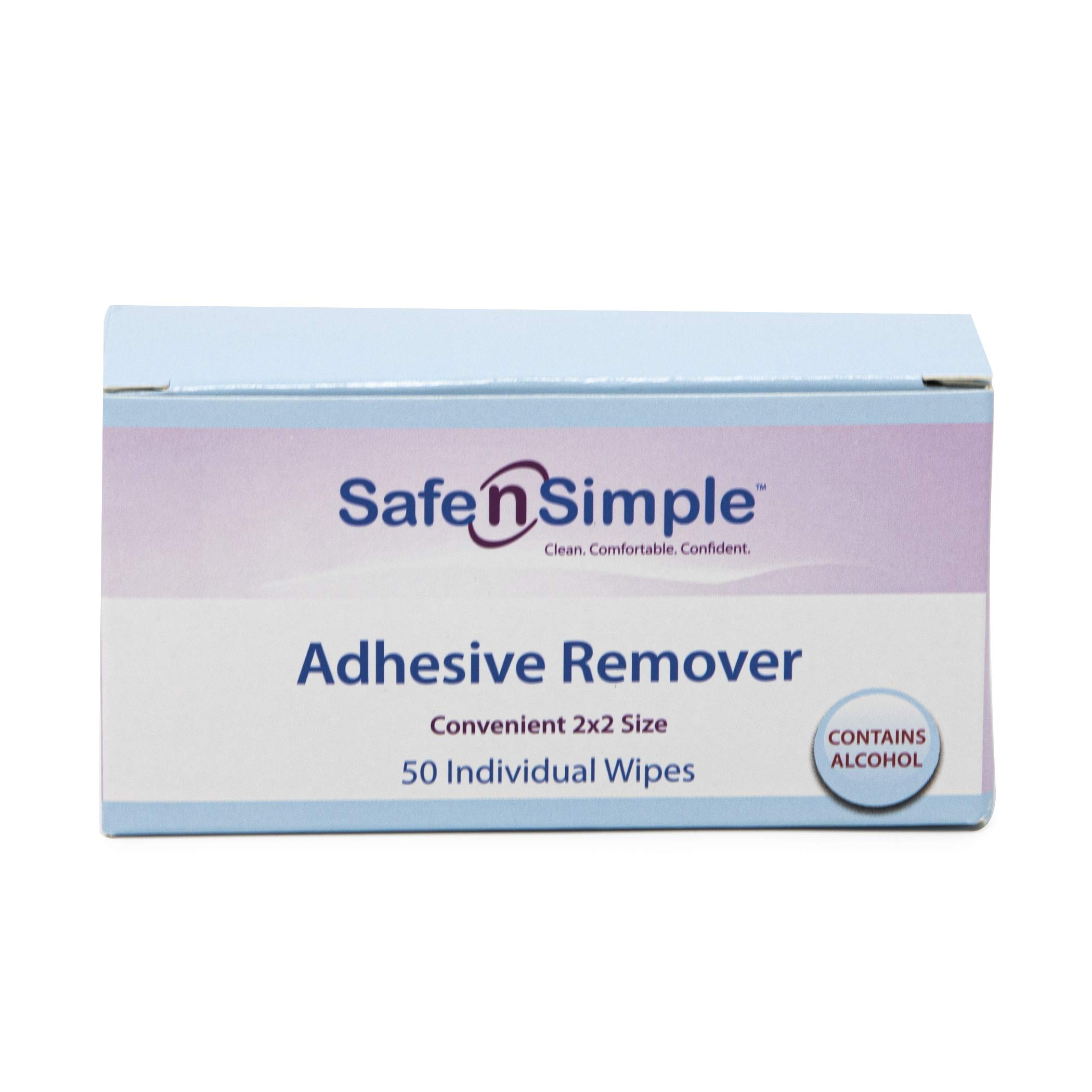 Safe n' Simple Adhesive Remover Wipes, Large, Pack of 50, Individually Wrapped Wipes
