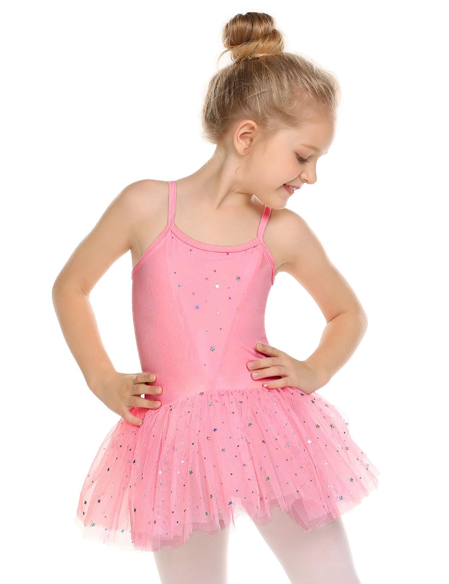 Zaclotre Kids Little Girls Sequin Sparkly Strap Leotards for Dance Ballet Casual Dress