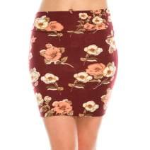 Fashionazzle Women's Casual Stretchy Bodycon Pencil Mini Skirt (Small, KS05-#23 Burgundy)