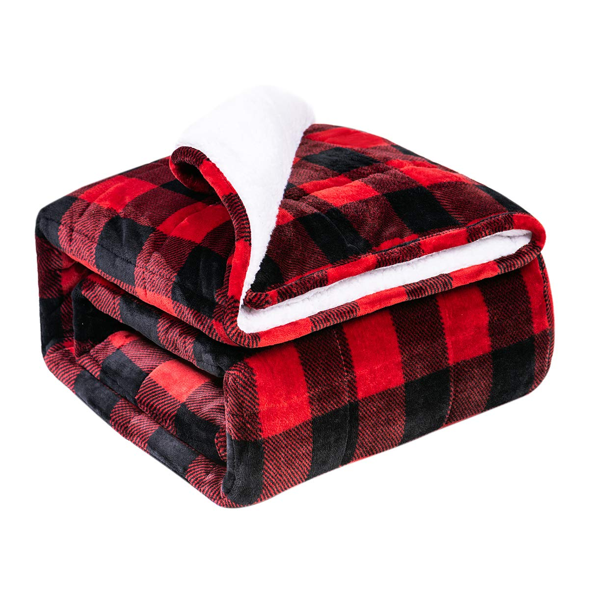 BUZIO Sherpa Fleece Weighted Blanket for Adult, 20 lbs Thick Fuzzy Bed Blanket with Soft Plush Flannel, Dual Sided Cozy Fluffy Blanket, 60 x 80 inches, Tartan Red