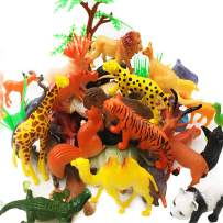 Plastic Animal Figures Toy Set - 44 Piece Animal Toys,16 Fences, 4 Grass and 1 Trees For Boys Girls Kids Toddlers Safari Animals Playset Cupcake Toppers