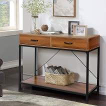 Entryway Table Console Table with Drawers - amzdeal Industrial Sofa Table with Storage 39.4 x 13.8 x 30.7 Inch, 2 Drawers and 1 Shelf, Bear 132 lbs, Best for Entryway, Hallway, Living Room, Foyer