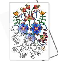 Art Eclect Adult Coloring Flower Greeting and Thank You Note Cards with Decorative Floral Designs (20 Cards With 20 Different Unique Designs and 20 White Envelopes, Set Deco White)