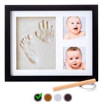 Baby Handprint Kit |NO Mold| Baby Picture Frame, Baby Footprint kit, Perfect for Baby Boy Gifts,Top Baby Girl Gifts, Baby Shower Gifts, Newborn Baby Keepsake Frames (Standard, Black)