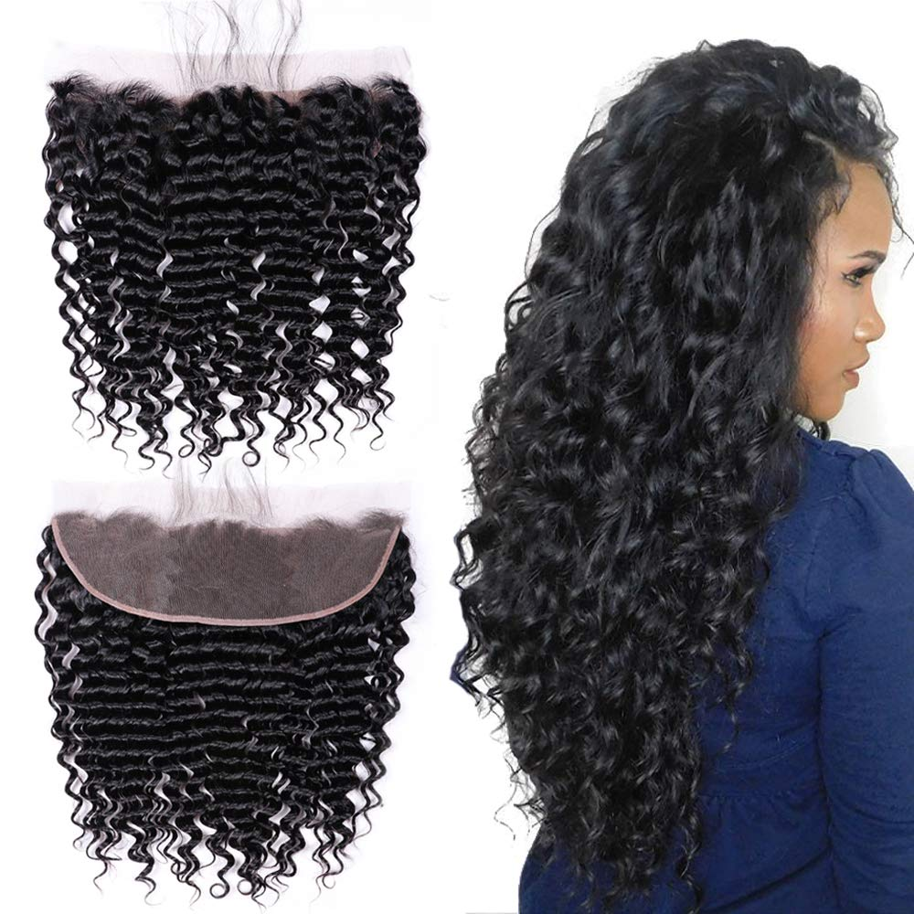 """10A Ear To Ear 13x4 Loose Deep Wave Lace Frontal 12"""" Free Part Unprocessed Brazilian With Baby Hair Top Hair Extensions Nature Color Best Real Human Hair"""
