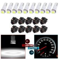 cciyu 10pcs T5 74 85 58 37 27 17 White 1-5050-SMD LED w/Black Twist Sockets Instrument Panel Dash Light Bulbs