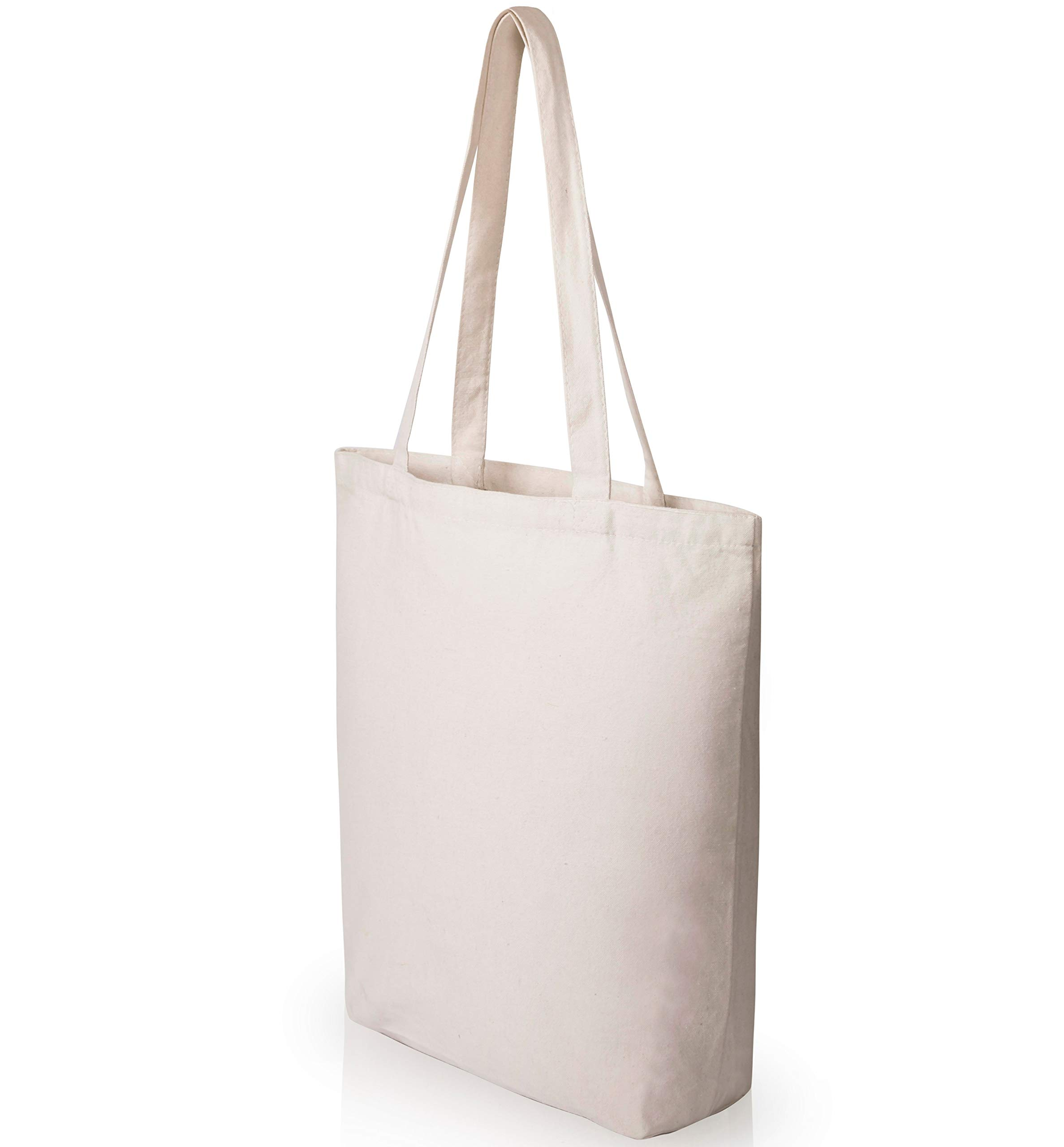 Heavy Duty and Strong Large Natural Canvas Tote Bags with Bottom Gusset for Crafts, Shopping, Groceries, Books, Welcome Bag, Diaper Bag, Beach, and More! -1 Bag- (15x14x4 Inches)