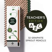 Teacher's Edition - Sprout plantable graphite pencils with seeds in eco friendly wood | 32 Pack |Gift set with herbs and flowers