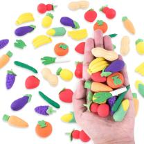 Colorful Mini Fruits & Vegetables Tiny Foods Miniature Pencil Erasers for Children Party Favors, Classroom Student Prize Packs, School Supplies, Toys & Games (12 Mini Bags, 48 Erasers Total)