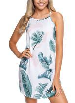 GOSOPIN Women Sleeveless Printed Flower Style Casual Floral Mini Dress