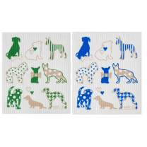 Wet-It! Swedish Dishcloth Set of 2-2 Different Dog Designs Blue and Green- New